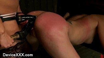 Locked in wooden stocks babe ass fucked...