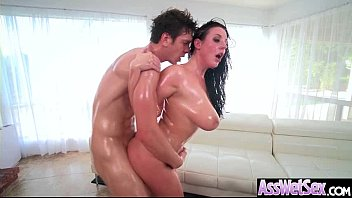 White gets oil anal fucked Angela