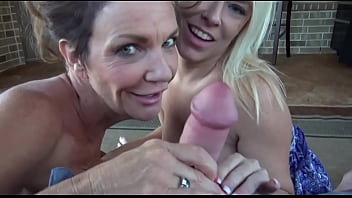 Deauxma and Savannah Steele give hubby double blow job.