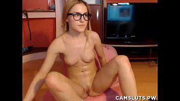 Blonde teen with glasses masturbating
