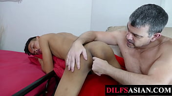 Fingered asian twink bareback rides older guy