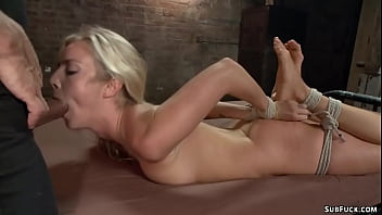 Young blonde is bound and screwed