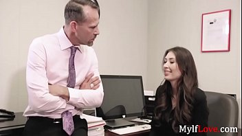 MILF has a quickie with BOSS before HUSBAND comes- Angelina Diamanti