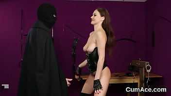 Naughty model gets cumshot on her face eating all the cum