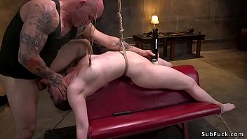 Master rough ties up and fucks brunette...