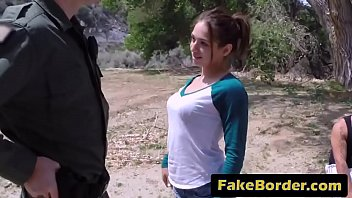 Sexy teen in tight cuddle lifting outdoor sex with fake border patrol