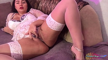 sexy girl in white lingerie masturbates sweet pussy sex toy