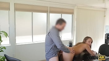 loan4k man uses young student girl as a whore in his big office