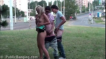 Extreme public street sex threesome with a very cute young blonde teen girl