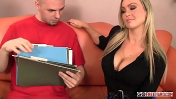 Busty blonde cougar Abbey Brooks jerks off a younger man's cock № 1371906 загрузить