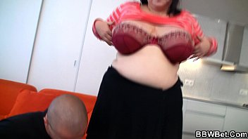 Busty big belly plumper is fucked on red couch
