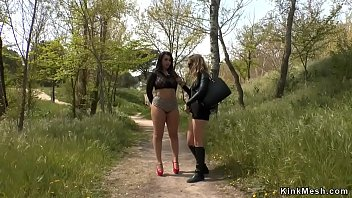 Big tits babe pissed outdoor...