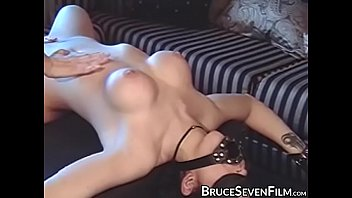 Submissive lesbian gagged and spanked by domina