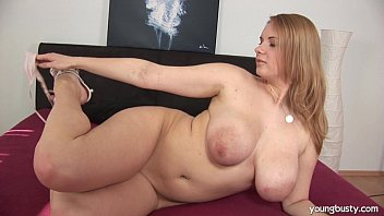 Busty young Tiana fuck a large dildo