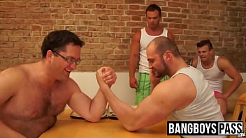 Two muscular bit decide to compete naked...