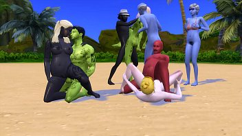 Crazy orgy with strange people alone on an...