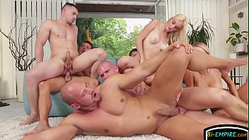 Horny bisexual group fuck orgy...
