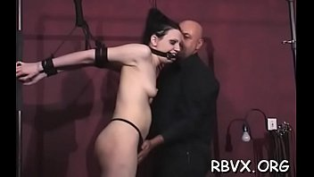 Beauty in slutty outfit gets orgasams whilst being bounded