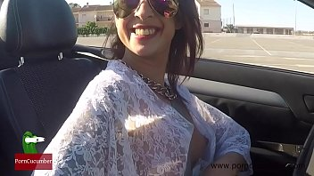 Oops! Great downblouse driving a cabriolet nipple slip with cute tits FER