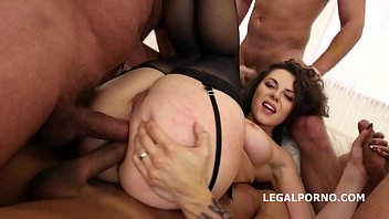 Big butt slut Sofya Curly in balls deep dp and double anal 5 on 1 gangbang