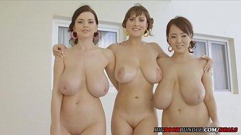 Three girls with perfect natural tits