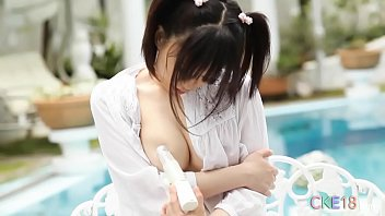 Japanese babe Yui seductively licking and teasing herself with vibe