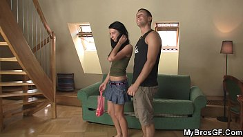 Brunette girl cheats with his brother  #12423