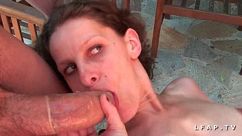 Euro brunette bangs outdoor for cash