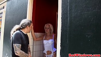 Lingeried Dutch hooker takes cum in mouth
