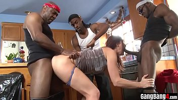 Ends in interracial orgy with skinny slut...