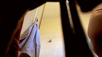 My sister in law in the shower (hidden cam)