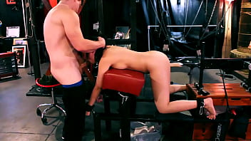 Bound Asian gets fucked by Machine