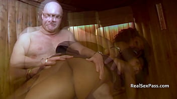 Ebony chick gets spanked in the sauna