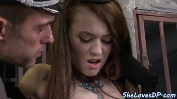 Prisoner babe spitroasted and fed with jizz