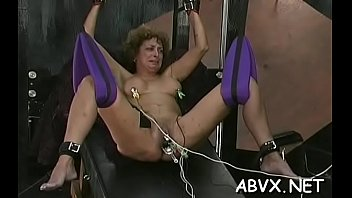 Vigorous lady is playing with her rubber fake penis