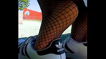 My Adidas Superstars totally sweaty and smelly Shoeplay, dangling, Dipping