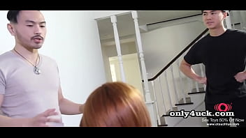 Two asian guys masseur give hot ginger double...