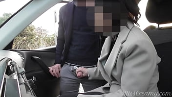 Dogging my wife in public car parking and jerks off an voyeur after work - MissCreamy