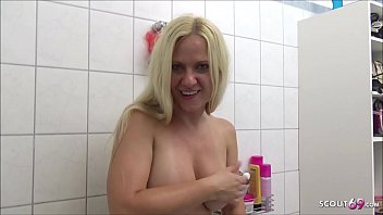 Friends German Mom caught him Jerk and let Fuck in Bathroom