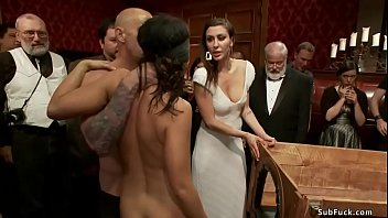 Young brunette slave Adriana Chechik is blindfolded and boxed with pussy ass and feet free gets rough banged in group public party