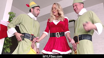 Mature Mrs Claus Brandi Love Catches her Elves Jerking Off and Fucks Them Both