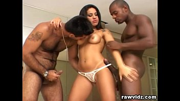Fiesty Latina Gets Two Big Black Cocks In Her Ass