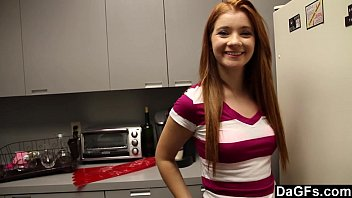 Horny redhead teen surprised with sex in kitchen