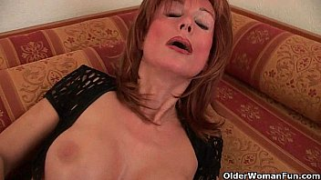 Redheaded grannies in lust fuck a dildo