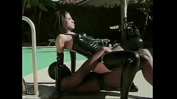 Brunette vixen in leather gear use her black cock slave for her fuck pleasure