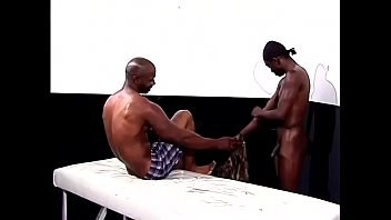 Fit black hunk gives dude a massage before he bangs him 26 min