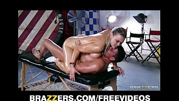 Abbey brooks gets oiled up & rubbed down by her...