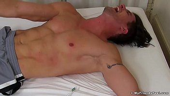 Hot and sexy Sergey immobilized and tickled hard at home