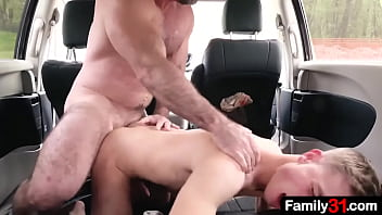 The best thing about a big, family van? Plenty of room for a frustrated, angry stepdad to fuck his stepson into!