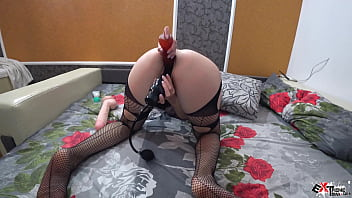 Brunette Sensual Play Pussy Dildo and Vibrator - Double Penetration